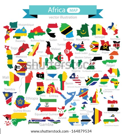 Map. Flag of Africa. vector Illustration. - stock vector