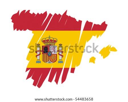 map flag Spain - stock vector