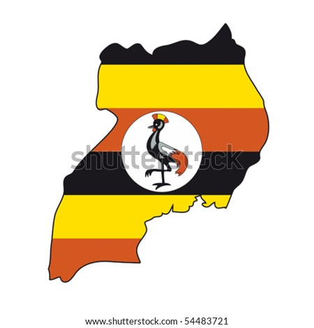 map flag Uganda - stock vector