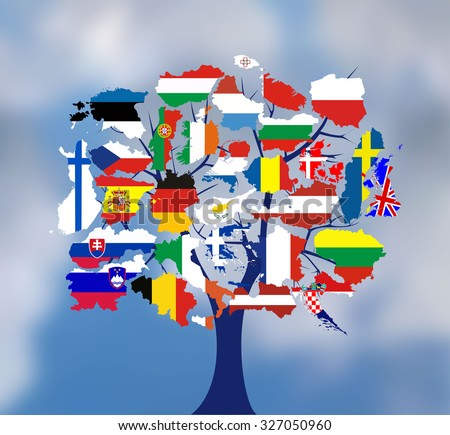 Map flags of europe in tree design. Vector illustration. - stock vector