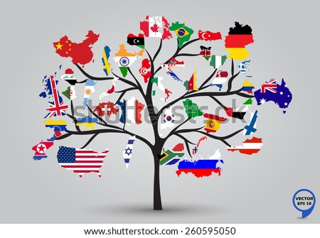 Map flags of the World in tree design. Vector illustration. - stock vector