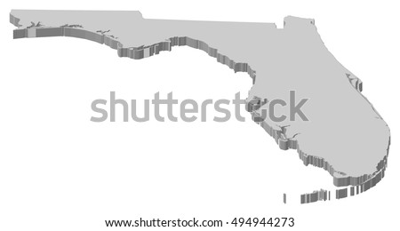Map Florida United States Dillustration Stock Vector - Us map with florida highlighted