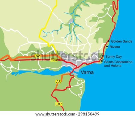 Map Varna Golden Sands Resort Bulgaria Stock Vector - Varna map