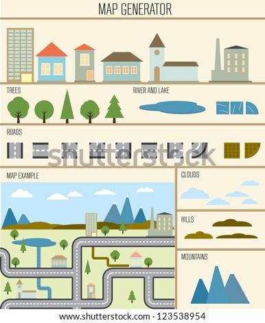 Map generator vector illustration design template. - stock vector