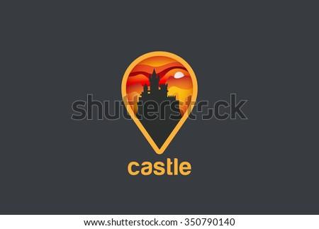 Map Geo Locator Castle Logo design vector template. Logotype concept navigation icon - stock vector