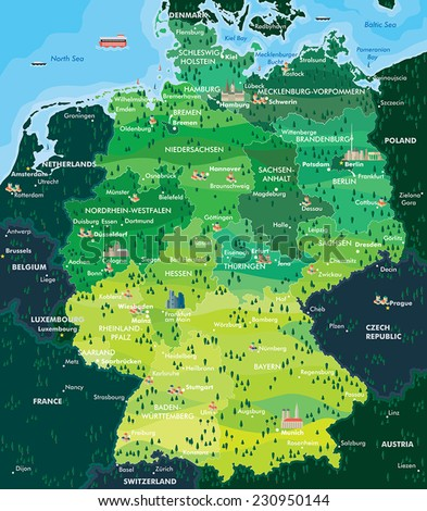Map Germany - stock vector