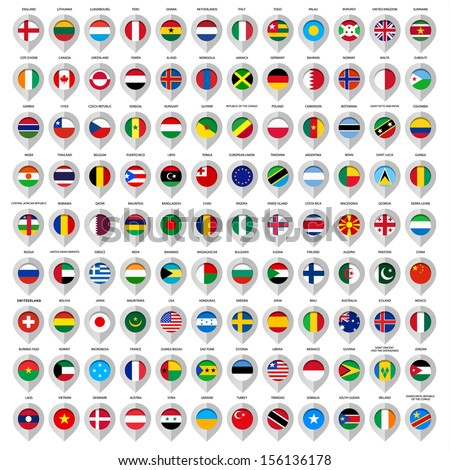 Map gray marker with flags. Country: European union, Argentina, Finland, Denmark, France, Austria, Switzerland, Greece, India, China, United Kingdom, Sweden, Usa, Italy, Ireland and many other. 108pcs - stock vector