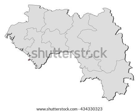 Map Guinea Conakry Stock Vector 434330323 Shutterstock