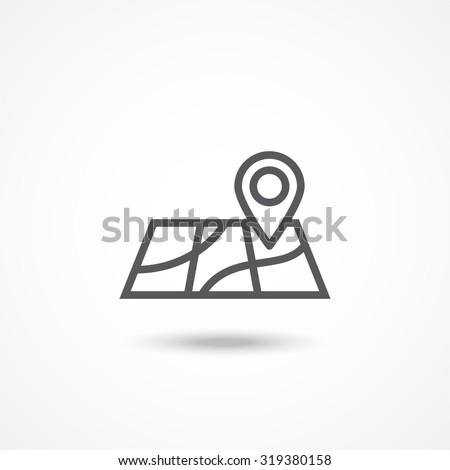 Map icon - stock vector