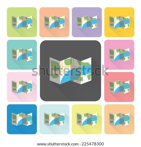 Map Icon color set vector illustration. - stock vector