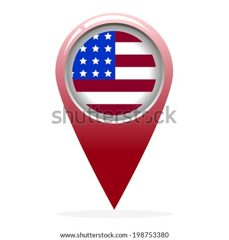 Map icon pointer with flag of America. Vector illustration. Abstract pattern. - stock vector