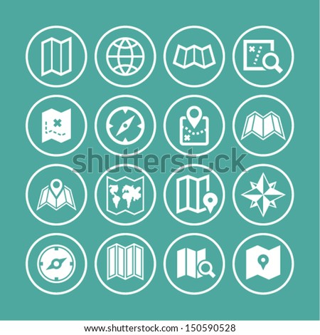 Map icon set - stock vector