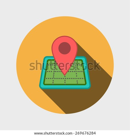 Map icon with Pin Pointer - stock vector