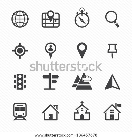 Map Icons and Location Icons with White Background