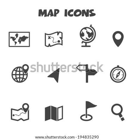 map icons, mono vector symbols - stock vector