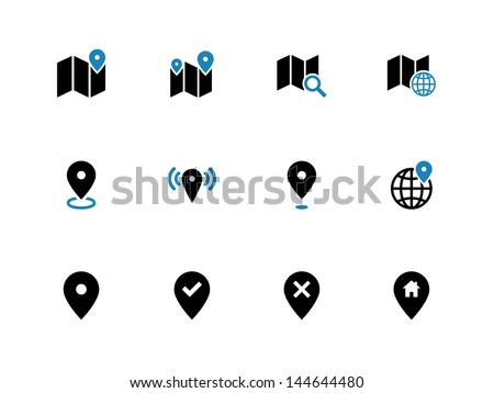 Map icons on white background. GPS and Navigation. Vector illustration. - stock vector