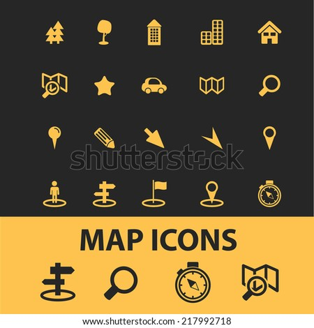 map icons set, vector - stock vector