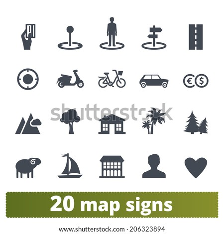 Map icons: vector set of places, locations, transport and landmarks - stock vector