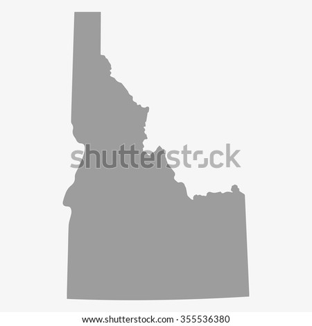 Map  Idaho State in gray on a white background - stock vector