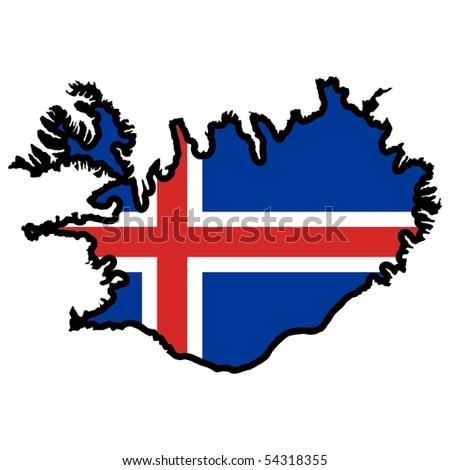 map in colors of Iceland