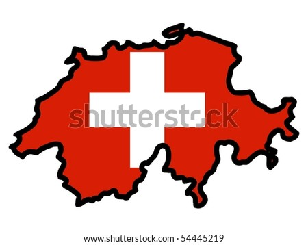 map in colors of Switzerland