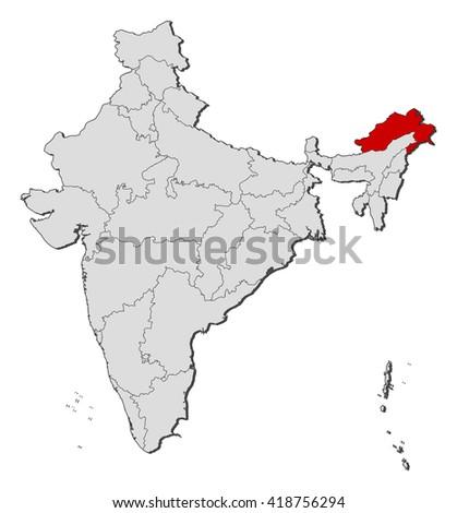 Map - India, Arunachal Pradesh - stock vector