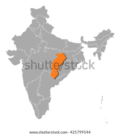 Map - India, Chhattisgarh - stock vector