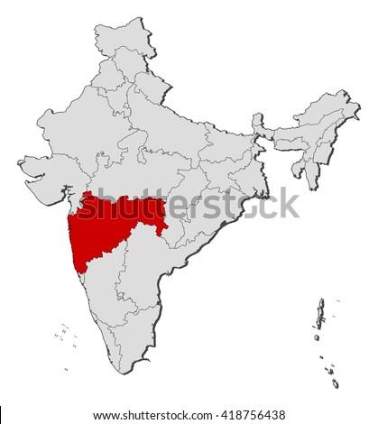 Map - India, Maharashtra - stock vector