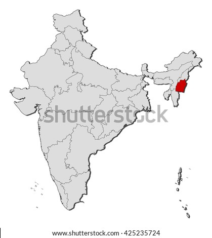 Map - India, Manipur - stock vector