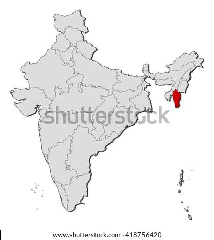 Map - India, Mizoram - stock vector