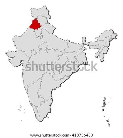 Map - India, Punjab - stock vector