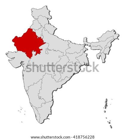 Map - India, Rajasthan - stock vector