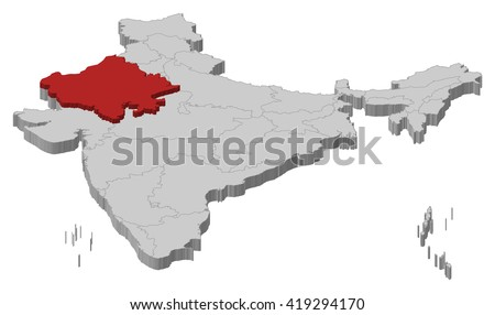 Map - India, Rajasthan - 3D-Illustration - stock vector