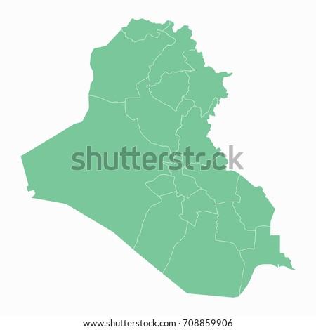 Mapiraq Map Each City Border Has Stock Vector Shutterstock - Map of iraq