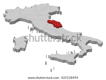 Map - Italy, Marche - stock vector