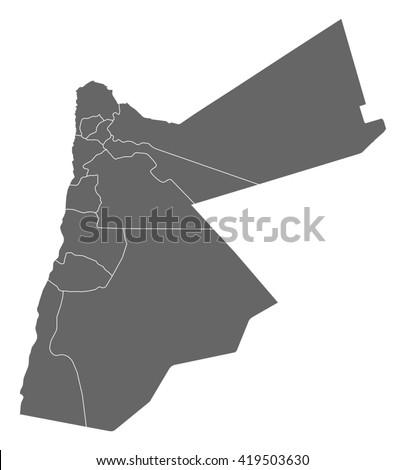 Map - Jordan - stock vector