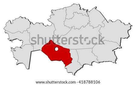 Map Kazakhstan Kyzylorda Stock Vector 418788106 Shutterstock