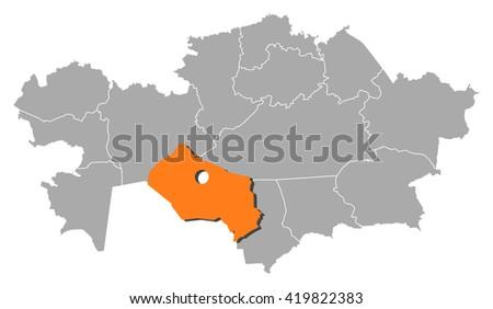 Map Kazakhstan Kyzylorda Stock Vector 419822383 Shutterstock