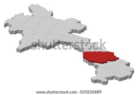 Map Laos Savannakhet 3dillustration Stock Vector 505836889