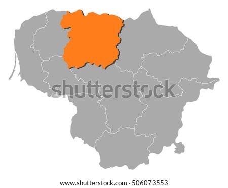 Map Lithuania Siauliai Stock Vector 506073553 Shutterstock