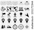 Map, location and destination vector  icons set - stock vector