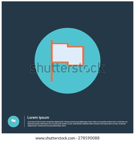 Map Location flag pin icon, vector illustration. Flat color design style - stock vector