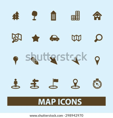map, location, route, navigation isolated signs, icons vector set for web, application, design. - stock vector