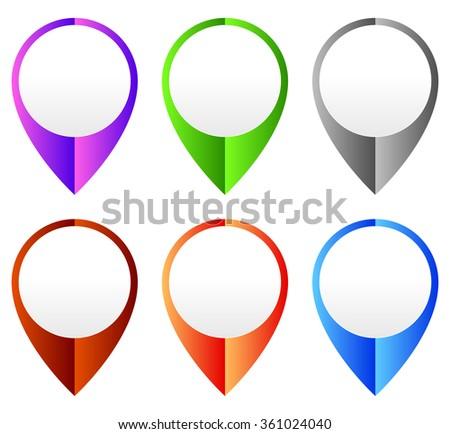 Map marker, map pin set. Abstract pushpins, thumbtacks. Vector. - stock vector