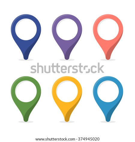 Map marker. Pin with blank space. 6 colors. Vector signs, symbols. - stock vector