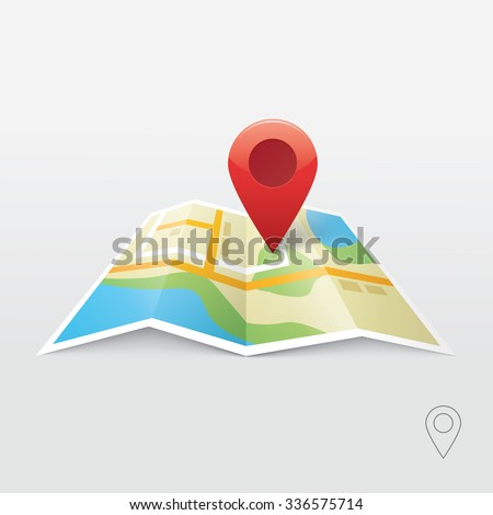 Map marker pointer with map vector icon design. Modern plan pin pointer banner element. Location pin illustration with soft shadow on gray background brilliance. Outline style. GPS navigation systems. - stock vector