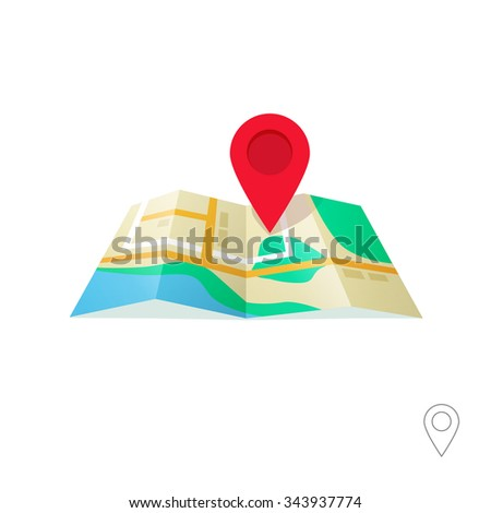 Map marker pointer with map vector icon design. Modern plan pin pointer banner element. Location sign illustration with soft shadow isolated on white background. GPS navigation systems. - stock vector
