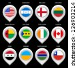 Map marker with flag-set eghth. In this set icons, I drawed these flags: Syria, Chile, Sao Tome, South Sudan, England, Canada, Usa, Honduras, Cote D'ivoire, Lithuania, Guinea Bissau, Ukraine - stock photo
