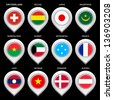Map marker with flag-set first. In this set icons, I drawed these flags: Kuwait, Burkina faso, Micronesia, Laos, Denmark, Mauritania, France, Japan, Austria, Switzerland, Vietnam, Bolivia - stock photo