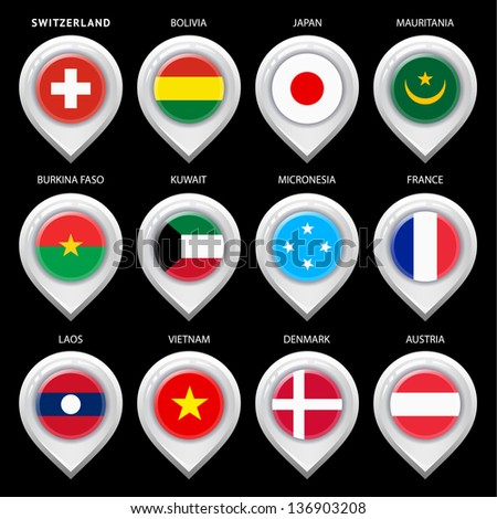 Map marker with flag-set first. In this set icons, I drawed these flags: Kuwait, Burkina faso, Micronesia, Laos, Denmark, Mauritania, France, Japan, Austria, Switzerland, Vietnam, Bolivia